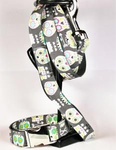 Graues Set (Leine und Halsband) aus Gurtband und Baumwollstoff mit Totenkopf-Print