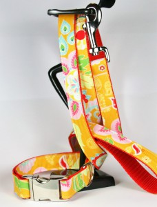 Orangefarbenes Set (Leine und Halsband) aus Gurtband und Baumwollstoff mit Blumen-Blätter-Print