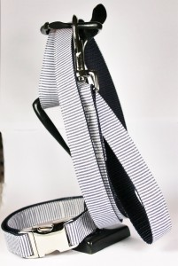 Blau-weiß gestreiftes Set (Leine und Halsband) aus Gurtband und Baumwollstoff