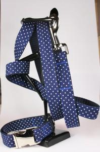 Blau-weiß getupftes Set (Leine und Halsband) aus Gurtband und Baumwollstoff
