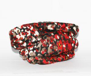 Loop-Schal rot-beige mit Fantasiemuster für kalte und ungemütliche Tage!