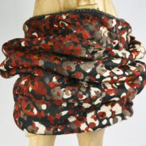 Dunkler Loop-Schal mit rostfarben-beigem Fantasiemuster