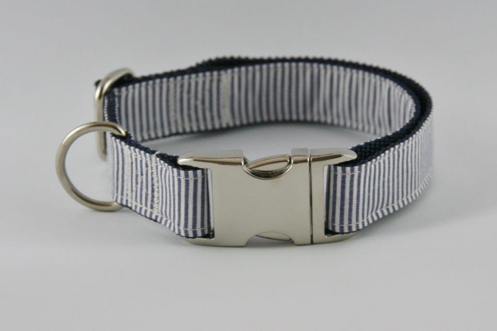 Blau-weiß gestreiftes Halsband aus Gurtband Baumwolle