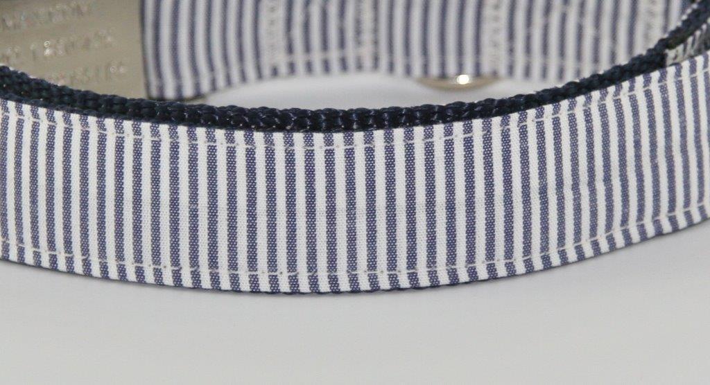Blau-weiß gestreiftes Halsband aus Gurtband Baumwolle - Detailansicht