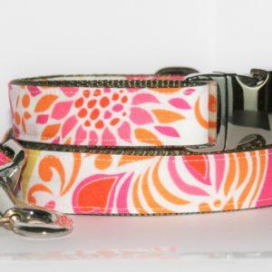 Hundehalsband und Hundeleine orange-pink-weiß Fleurs als Set in verschiedenen Größen und Ausführungen