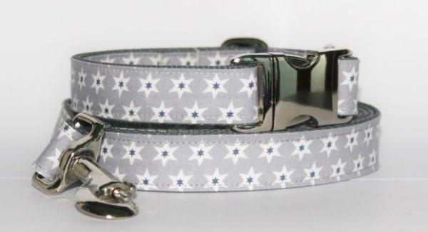 Hundehalsband und Hundeleine Stella mit Sternenmotiv als Set in verschiedenen Ausführungen erhältlich