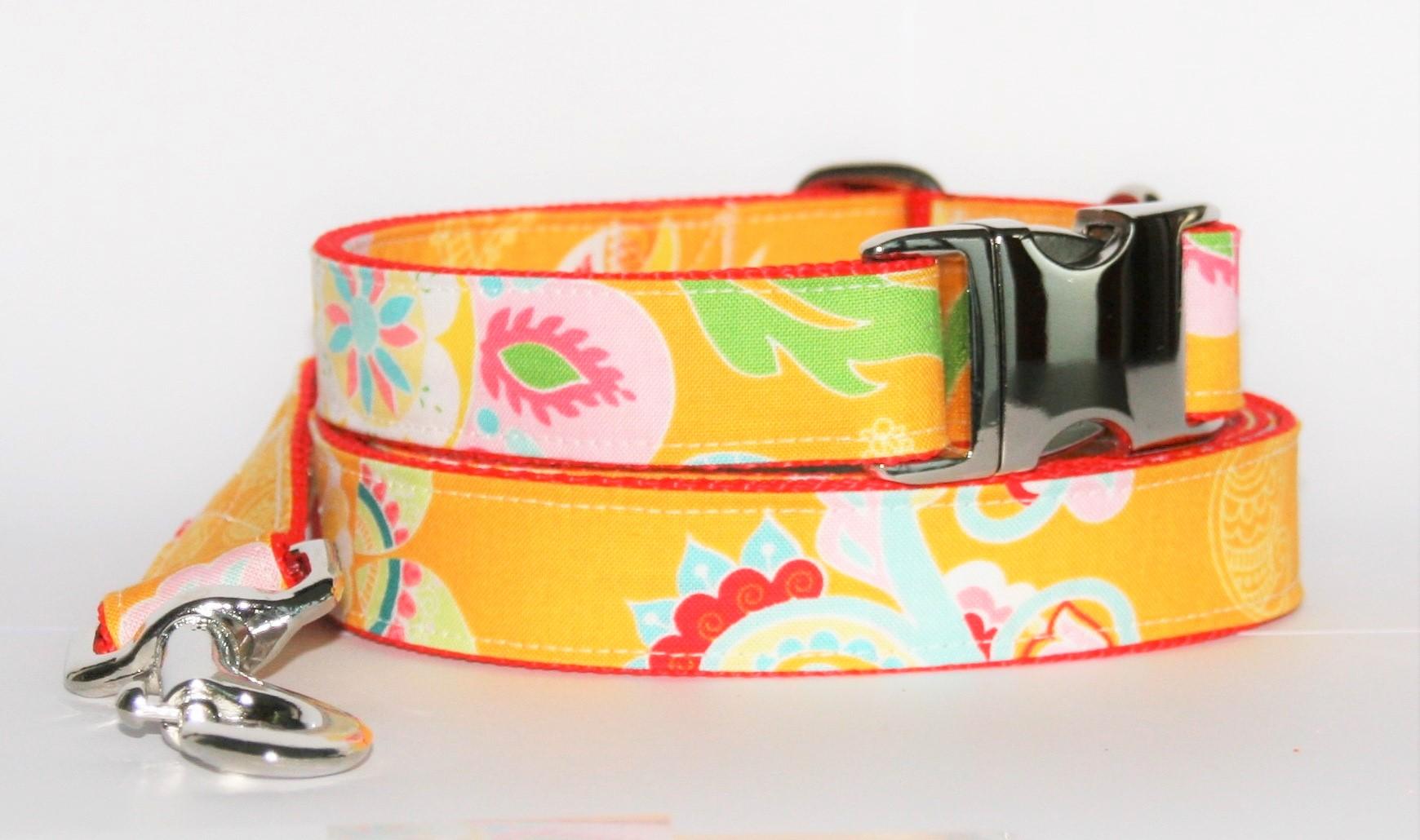 Hundehalsband und Hundeleine orange-grün-rot Dschungel als Set in unterschiedlichen Ausführungen erhältlich