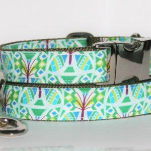 Hundehalsband und Hundeleine grün-türkis-weiß Botanik als Set in mehreren Ausführungen erhältlich!