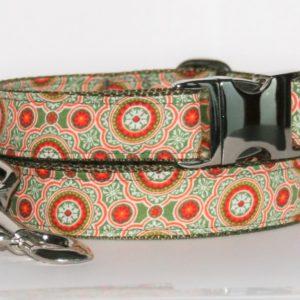 Hundehalsband und Hundeleine rot-grün Mandala als Set in verschiedenen Ausführungen erhältlich!