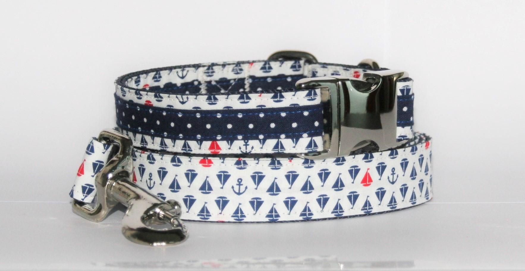 Hundehalsband und Hundeleine weiß-blau-rot Maritim als Set in unterschiedlichen Varianten erhältlich