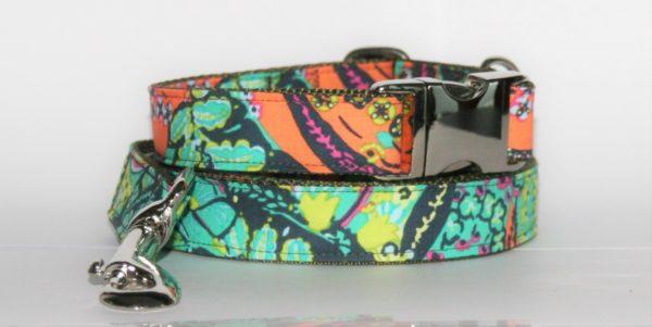 Hundehalsband und Hundeleine orange-blau-grün Flora als Set in verschiedenen Ausführungen erhältlich!