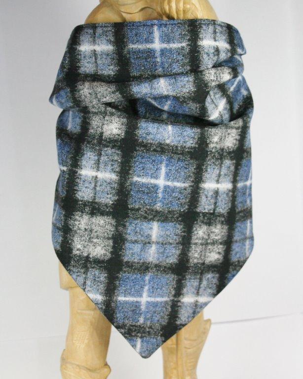 Halstuch mit blau-weiß-schwarzem verschwommenem Karomuster
