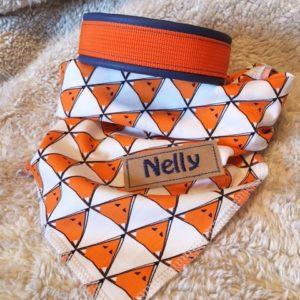 Hundehalsband und Hundehalstuch orange-blau als Set ein tolles, modisches Accessoire