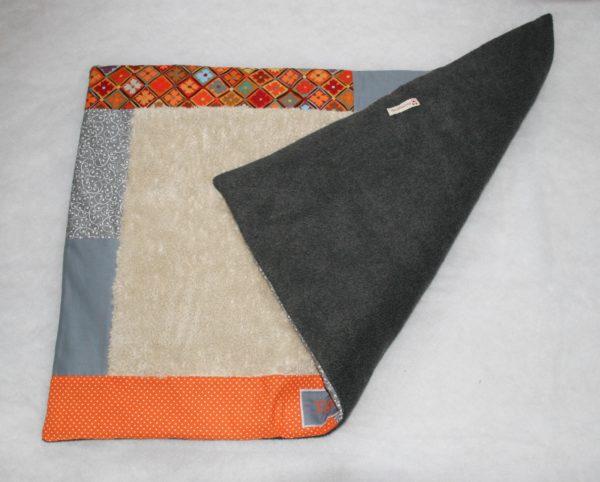 Hundedecke orange grau Rückseite
