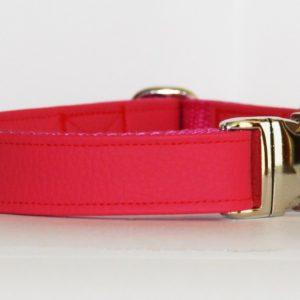 Hundehalsband Leder genarbt pink aus Kunstleder