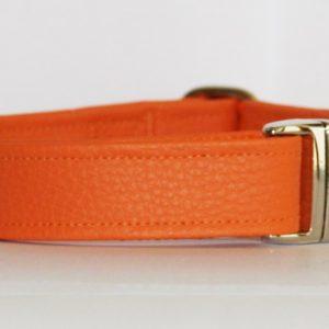 Hundehalsband Leder genarbt orange aus Kunstleder