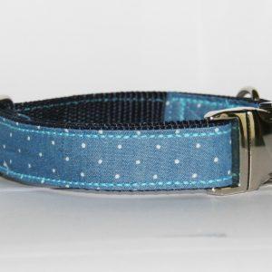Hundehalsband Jeans Stella aus Jeansstoff mit Punkten und Sternen