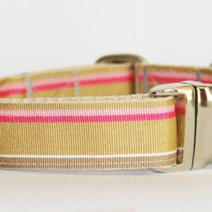 Hundehalsband beige rosa Gold, handgefertigt, verstellbar