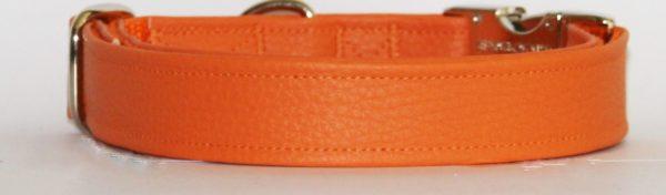 Hundehalsband Leder genarbt orange aus Kunstleder Nahaufnahme