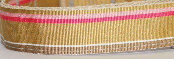 Hundehalsband beige rosa Gold, handgefertigt, verstellbar, Stoff Nahaufnahme