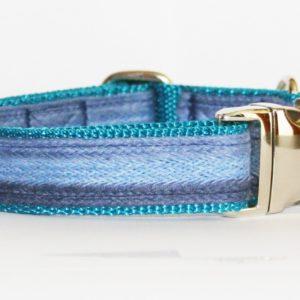 Hundehalsband blau türkis Azur, handgefertigt, verstellbar