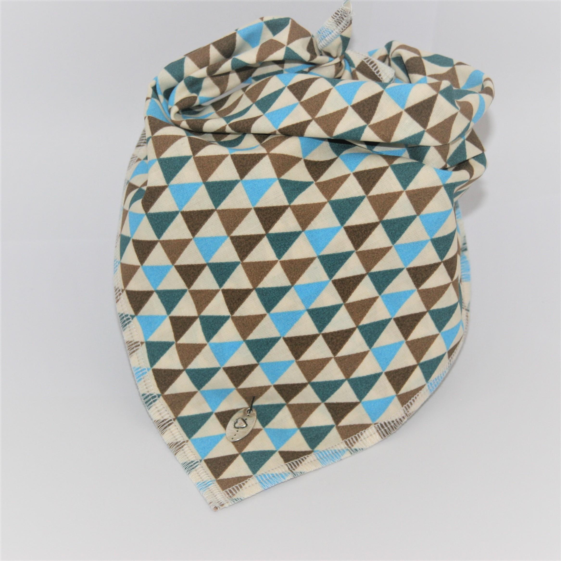 Das Hundehalstuch Triangel türkis, braun ist in 3 verschiedenen Größen lieferbar!