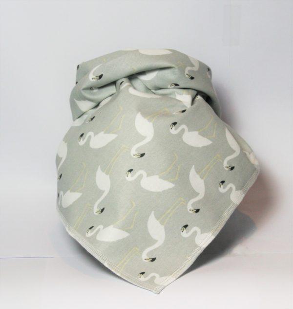 Halstuch Hund grau/weiß mit Flamingos – ein lässig-pfiffiges Accessoire für Ihren Hund