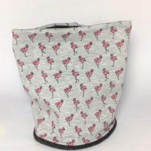 Hunde Loop grau mit Flamingos in pink